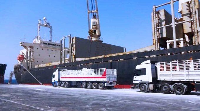 تفريغ مخزونڨاليس في ميناء العقبة على شاحنات متجهة إلى عمان